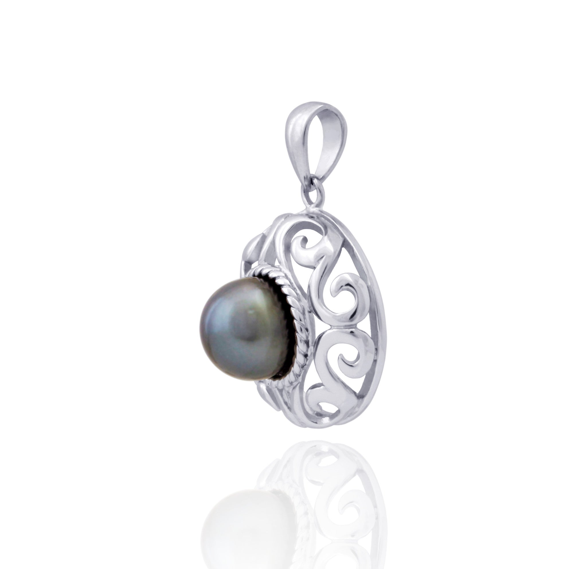 Tahitian pearl pendant in silver - Tribal Identity - PESVPE00035