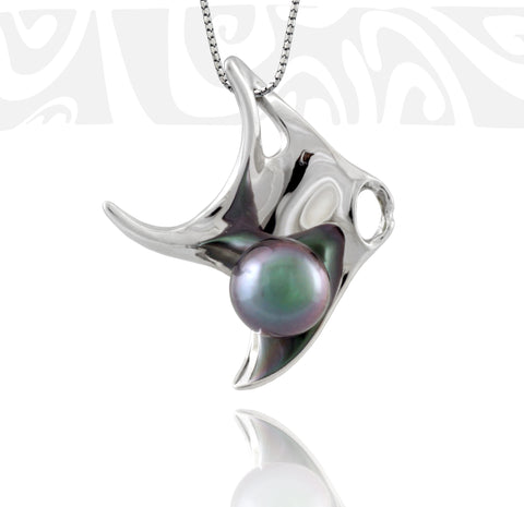 Tahitian pearl pendant in 18k white gold - Tribal Identity - PEWGPE01011