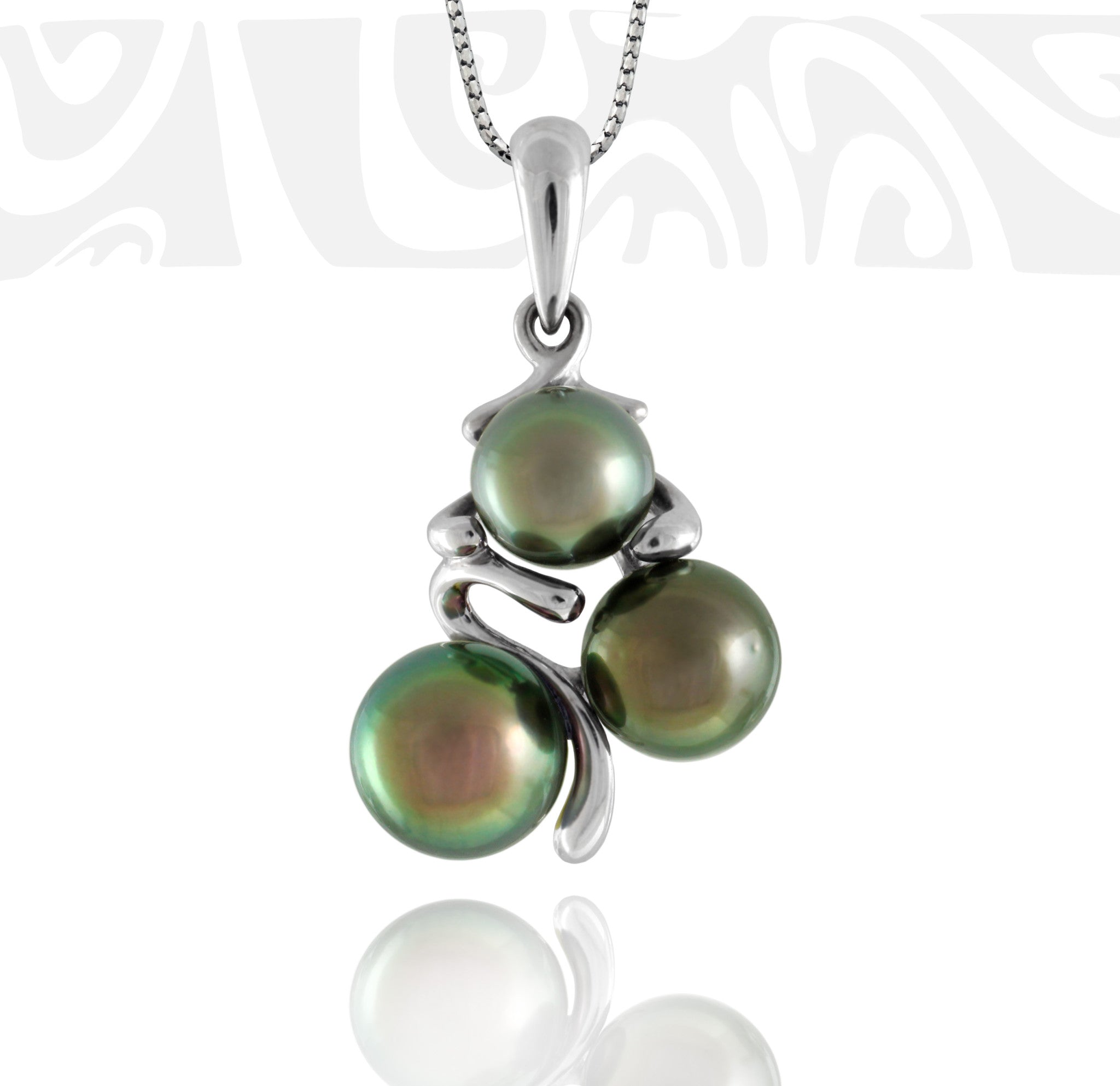 Tahitian pearl pendant in 18k white gold - Tribal Identity - PEWGPE01027