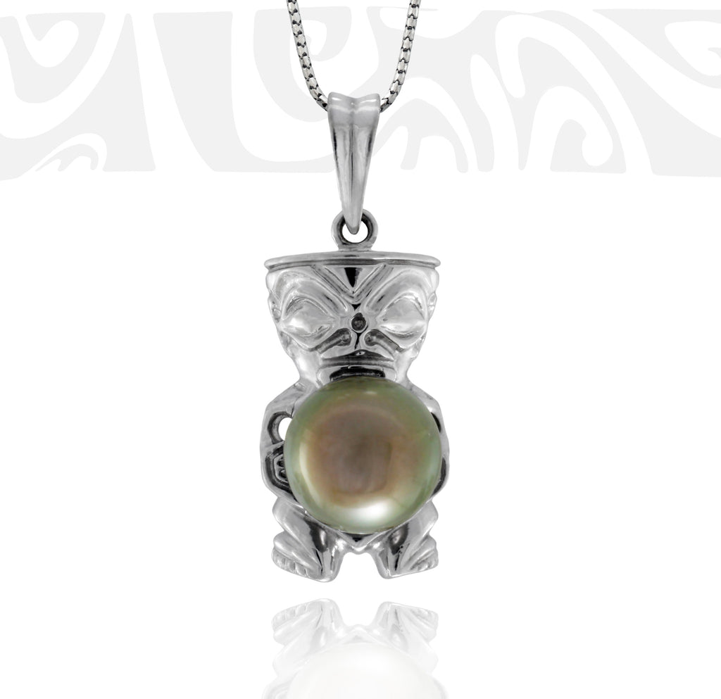 Tahitian pearl pendant in 18k white gold - Tribal Identity - PEWGPE01112