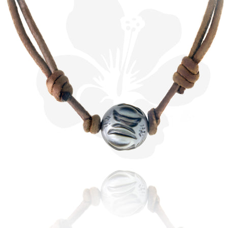 Tahitian engraved pearl necklace - Tattoo Pearl - DVOMPE00003