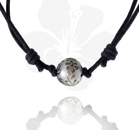 Tahitian engraved pearl necklace - Tattoo Pearl - DVOMPE00011