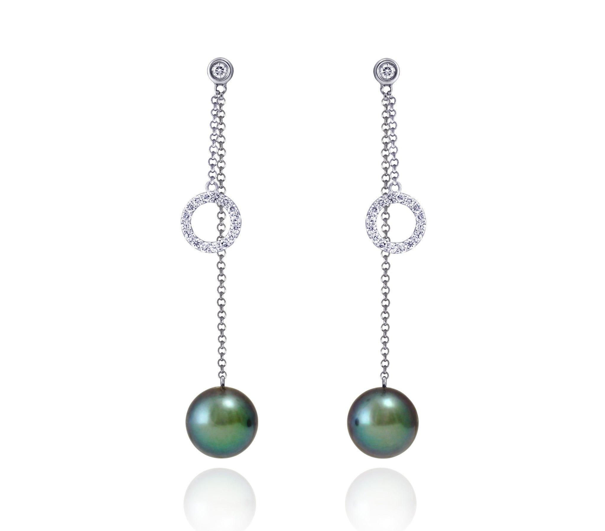 Tahitian pearl earrings 18k white gold with diamond - Circle of Life - EAWDPE00121