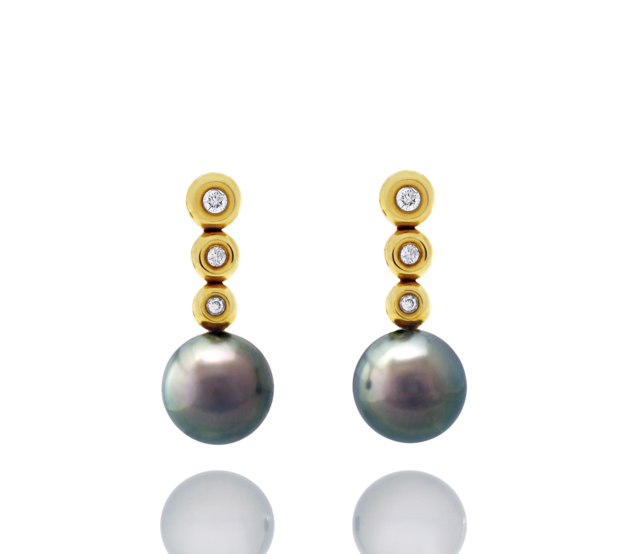 Tahitian pearl earrings 18k yellow gold with diamond - Circle of Life - EAYDPE00092