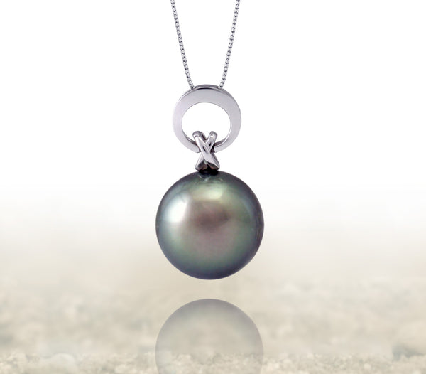 Tahitian pearl pendant 18k white gold - Circle of Life - PEWGSE01063