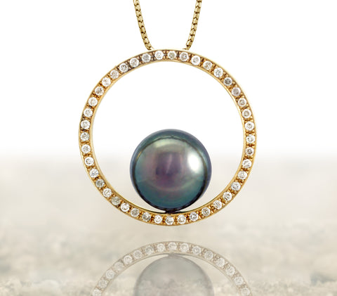 Tahitian pearl pendant - 14k yellow gold - Circle of Life - PEYDPE00105