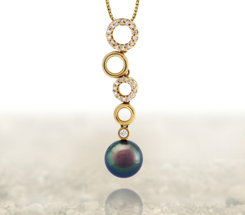 Tahitian pearl pendant 18k yellow gold with diamonds - Circle of Life - PEYDPE00564