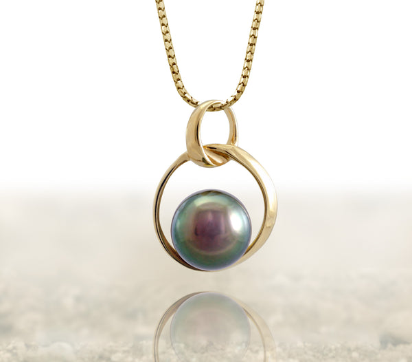 Tahitian pearl pendant 18k yellow gold - Circle of Life - PEYGPE01167