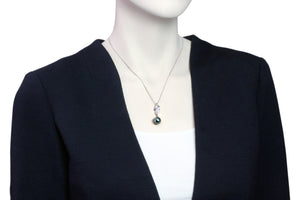 Tahitian pearl pendant in silver - dewdrops collection - PESZPE00069