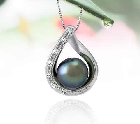 Tahitian pearl pendant in silver - dewdrops collection - PESZPE00511 - green