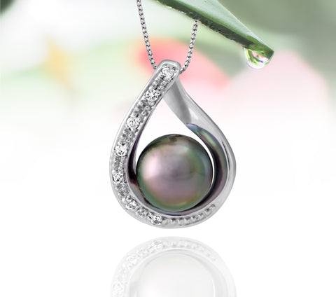 Tahitian pearl pendant in silver - dewdrops collection - PESZPE00511 - pink