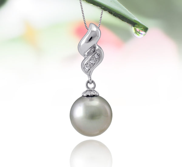 Tahitian pearl pendant in silver - dewdrops collection - PESZPE00514 - Pastel green
