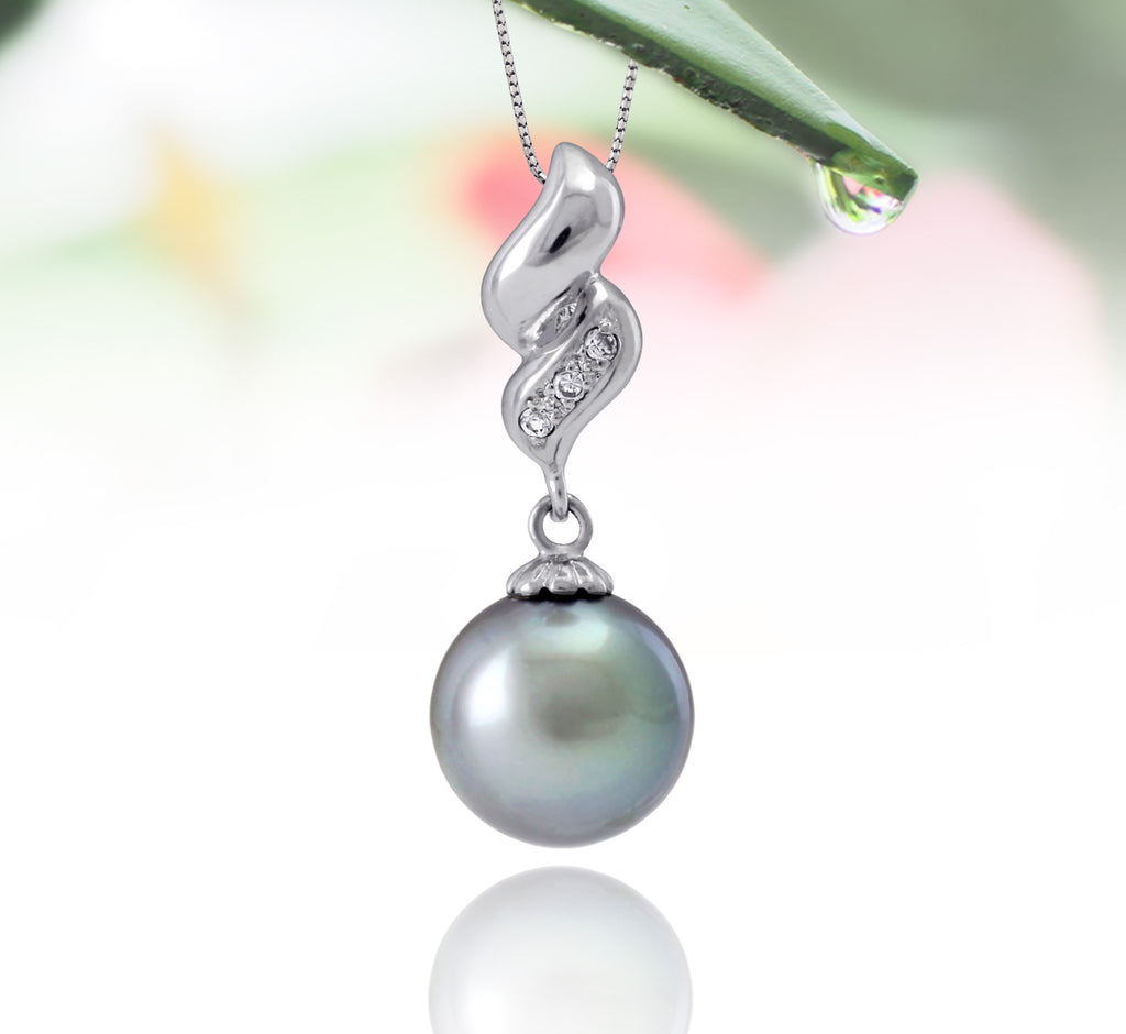 Tahitian pearl pendant in silver - dewdrops collection - PESZPE00514 - Pastel blue