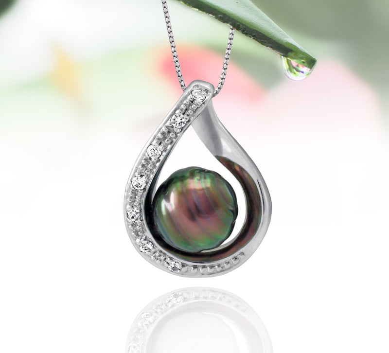 Tahitian pearl pendant in silver - dewdrops collection - PESZPE00559