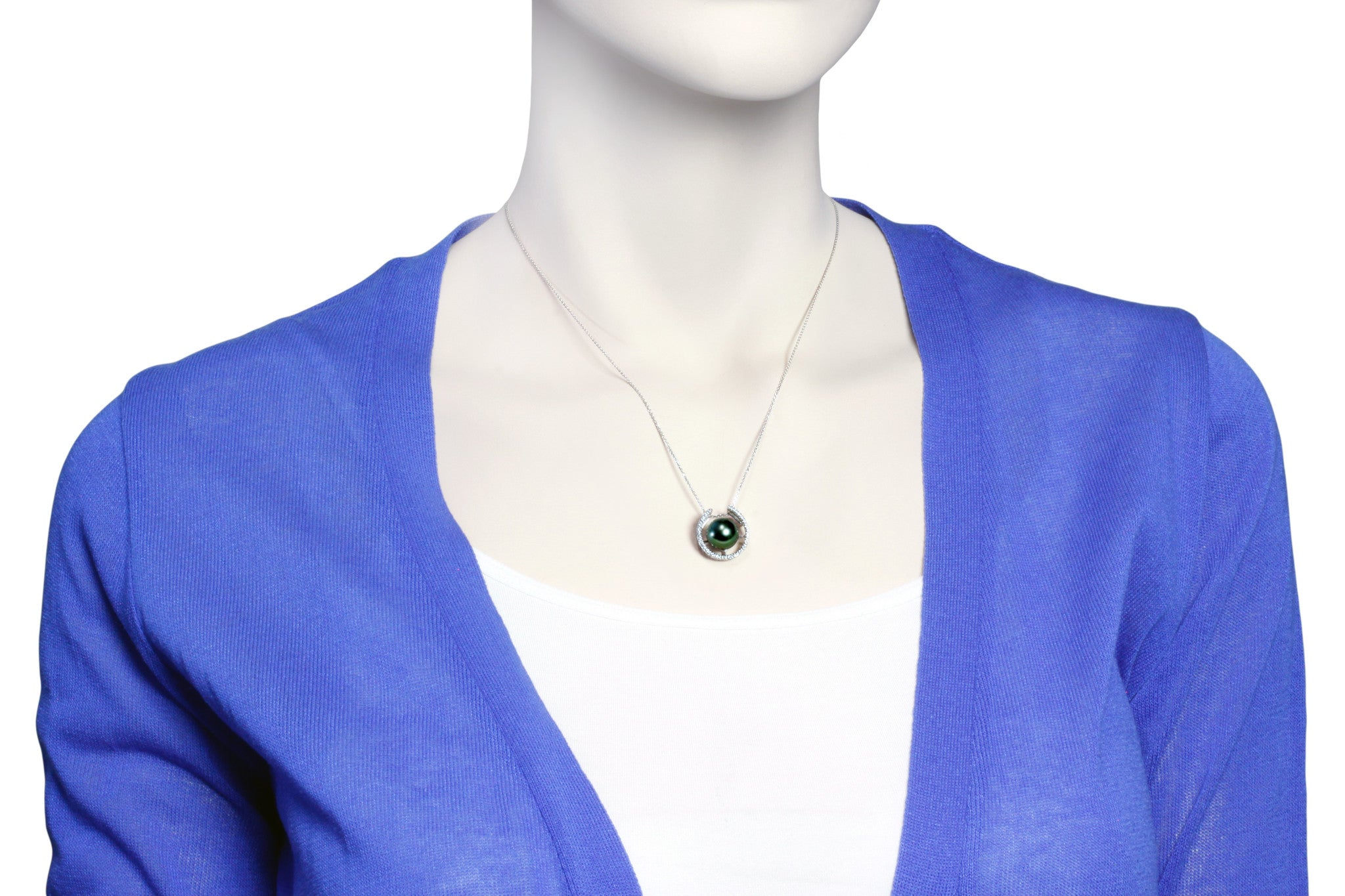 Tahitian pearl pendant in silver - dewdrops collection - PESZPE00064
