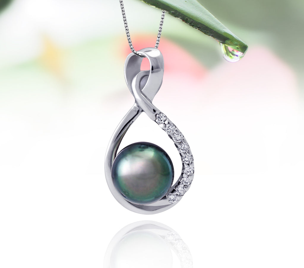 Tahitian pearl pendant in silver - dewdrops collection - PESZPE00078 - Blue Green
