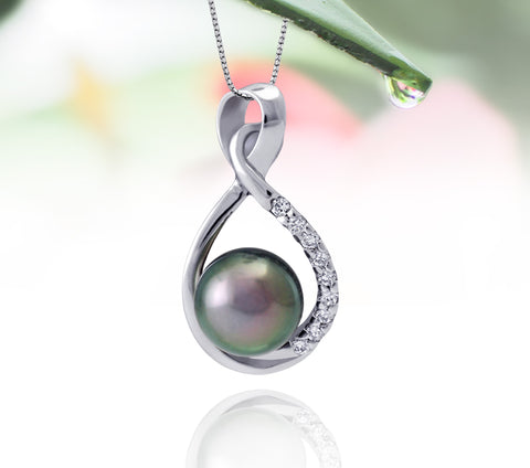 Tahitian pearl pendant in silver - dewdrops collection - PESZPE00078 - Pinkish Green