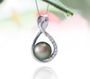 Tahitian pearl pendant in silver - dewdrops collection - PESZPE00078 - Soft Green