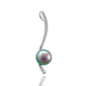 Tahitian pearl pendant in 18k white gold and diamonds - Dewdrops - PEWDPE00529