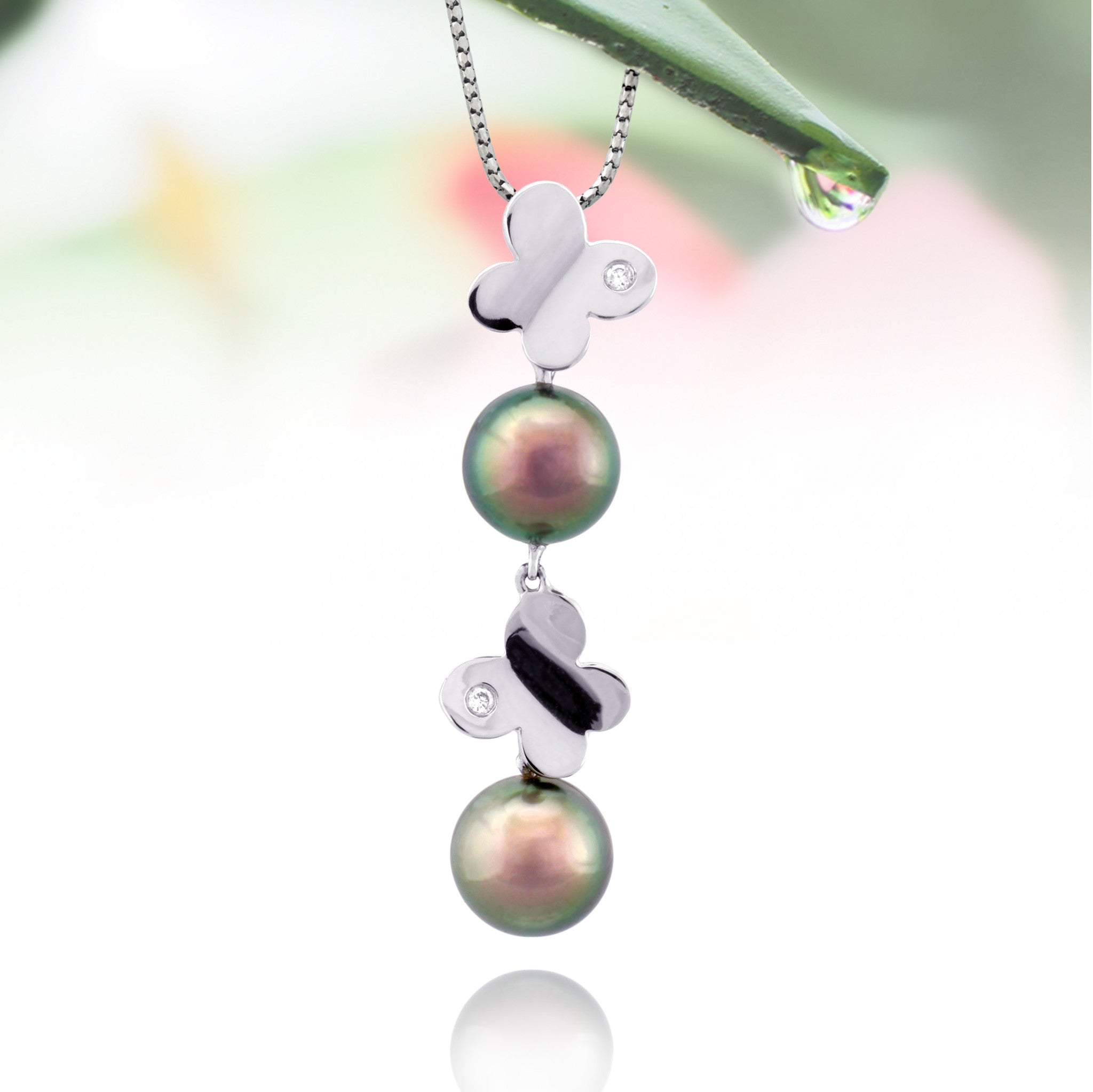Tahitian pearl pendant in 18k white gold and diamonds - Dewdrops - PEWDPE00543