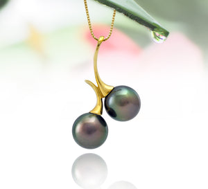 Tahitian pearl pendant in 18k yellow gold - Dewdrops collection - PEYGPE01131