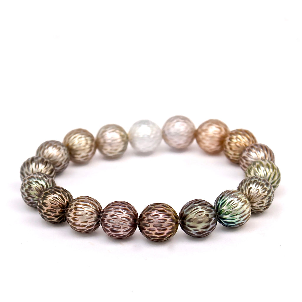 Engraved Tahitian Pearl Bracelet - Aurora collection - TBR093
