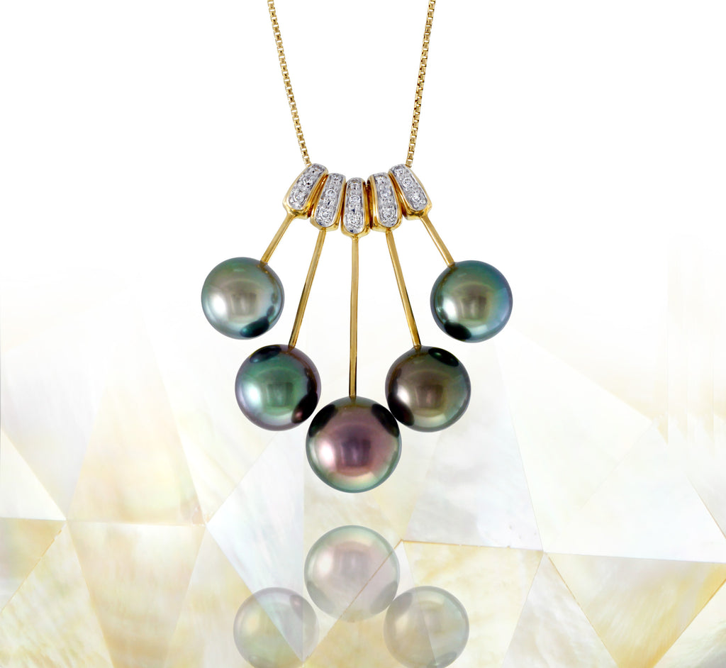 Tahitian pearl necklace - 14k/18k yellow gold with diamonds - Rainbow drops- NDYDPE00020