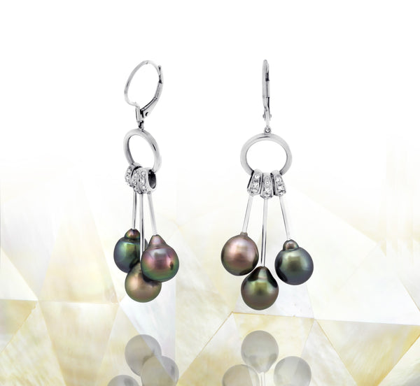 Tahitian pearl earrings in 18k white gold and diamonds - Rainbow drops- EAWDPE00053