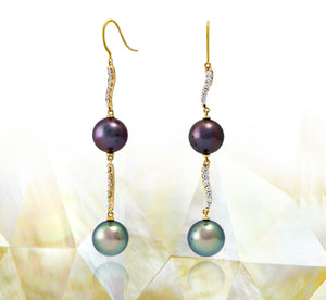 Tahitian pearl earrings 18k yellow gold with diamonds - Rainbow drops - EAYDPE00078
