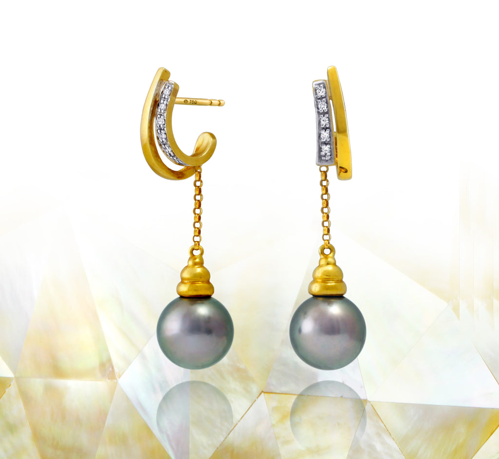 Tahitian pearl earrings 18k yellow gold with diamonds - Rainbow drops - EAYDPE00081