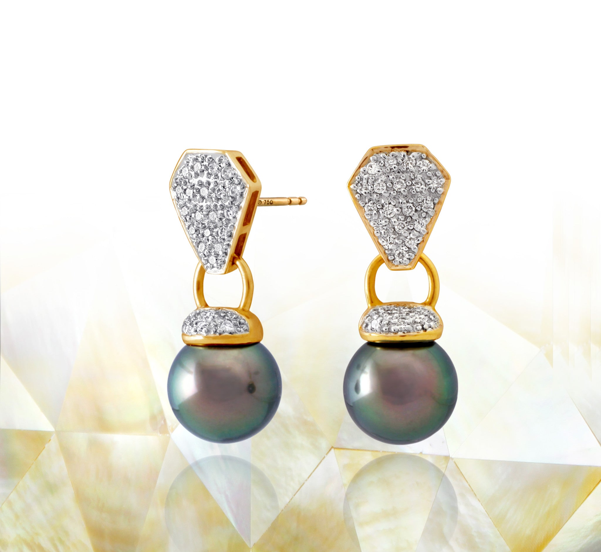 Tahitian pearl earrings 18k yellow gold with diamonds - Rainbow drops - EAYDPE00082