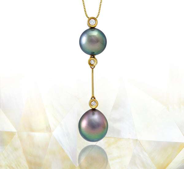 Tahitian pearl pendant in 18k yellow gold with diamonds - Rainbow drops- PEYDPE00577