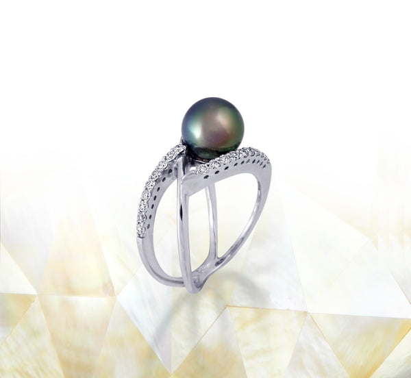 Tahitian pearl ring - 18K white gold with Diamonds - RGWDPE00667