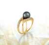 Tahitian pearl ring - 18K yellow gold with Diamonds - RGYDPE00682