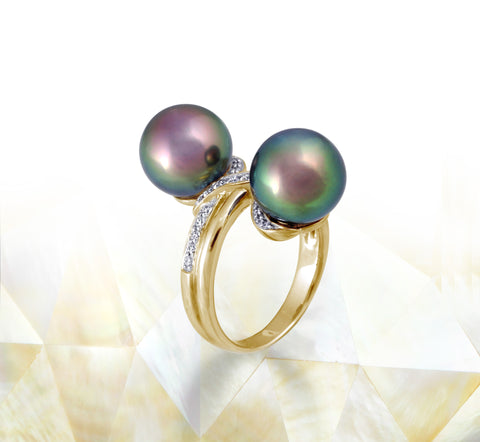 Tahitian pearl ring - 18K white gold with Diamonds - RGYDPE01011