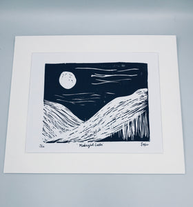 Midnight calls lino print