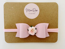 Load image into Gallery viewer, Mimi Rose leatherette bow headband