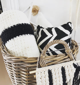 Crochet Bolster cushion Black and White