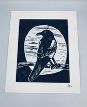 Load image into Gallery viewer, One for Sorrow lino print