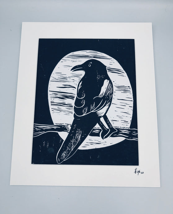 One for Sorrow lino print