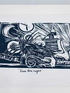 "''Twas the night"" lino print"