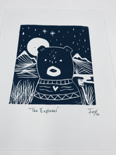 Load image into Gallery viewer, The Explorer bear lino print