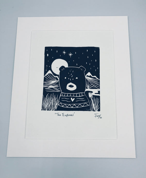 The Explorer bear lino print
