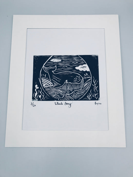 Whale song lino print