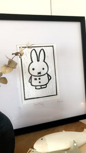 Lino Print Framed 'Solo Miffy'