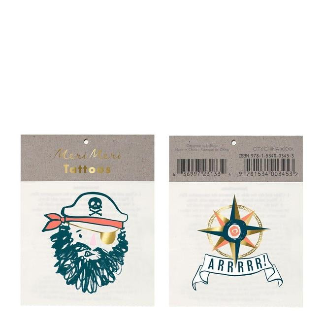 Bearded pirate small tattoos
