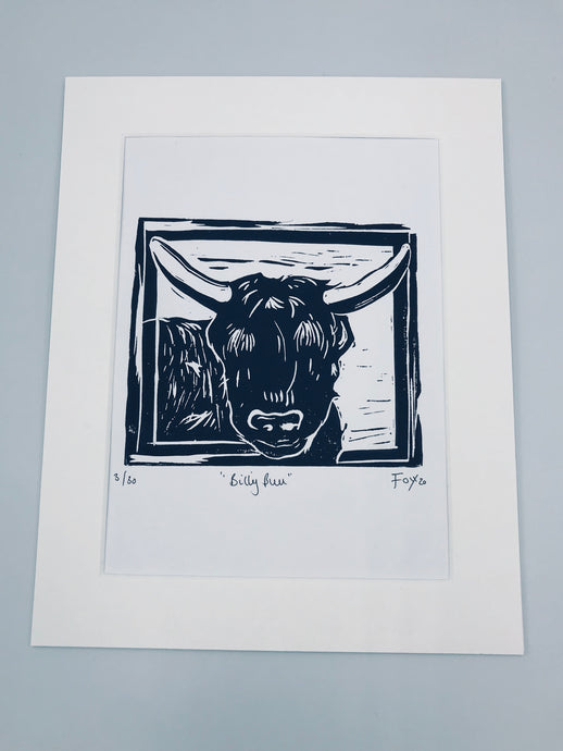 Billy Bull highland cow lino print