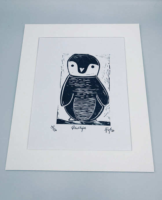 Phillipe Penguin lino print