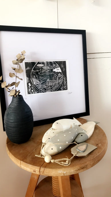 Lino Print Framed 'Whale watching'