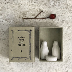 Ceramic Mary, Joseph and Jesus matchbox